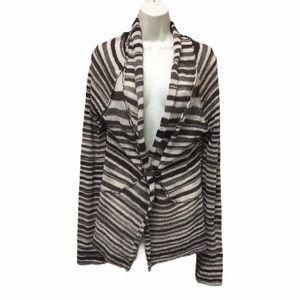 BKE Size XL Brown Stripe Cardigan Wool Blend